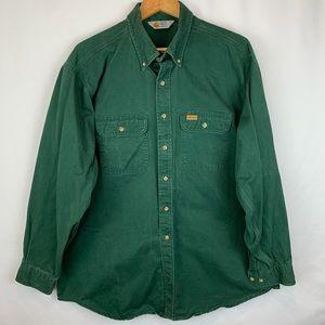 Carhartt Shirt 2XL XXL Green Long Sleeve Button Up